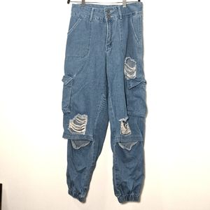 Shein Distressed Cargo Jeans